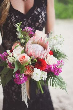 Check out this amazing hurricane inspired shoot... and that protea bouquet!