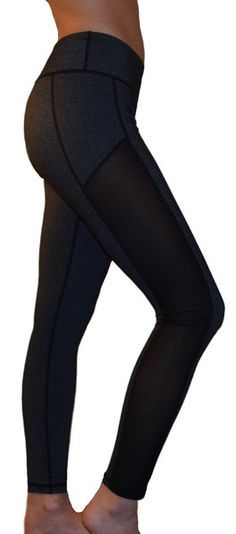 Mesh Yoga Pants/Leggings (Side Panel, Gray)
