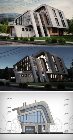 While most houses have a bilateral symmetry and a pointed isosceles roof, this particular home tips Roof Architecture, Modern Architecture House, Concept Architecture, Futuristic Architecture, Amazing Architecture, Architecture Colleges, California Architecture, Villa Design, Roof Design