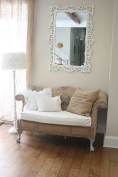 """Recycled Coffee Sack Sofa - I love the """"two"""" tones to this. If my house is going to be colorful, I will need """"Muted"""" furniture to make it work. Shabby Vintage, Shabby Chic, White Rooms, Cozy House, Home Projects, Interior Inspiration, Love Seat, Upholstery, Grain Sack"""