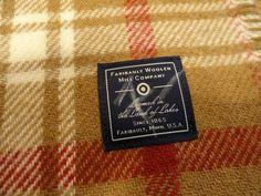 Faribault Woolen Mill Company Plaid Blanket/Throw 52x52 NWT Tan Red White
