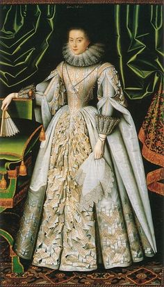 Diana de Vere, nee Cecil, Countess of Oxford, 1614 William Larkin. Diana Cecil's dress is an amazing tour de force of slashing in this portrait by William Larkin.