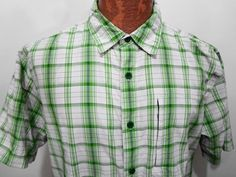 The North Face Mens L Green & White Plaid Nylon Short-Sleeve Shirt  #TheNorthFace #ButtonFront