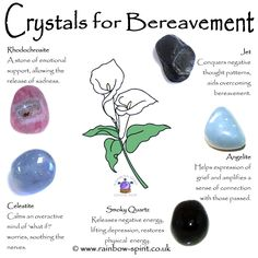 Rainbow Spirit crystal shop - My crystal healing poster with suggestions on gemstones the have properties to support bereavement, grief and loss.