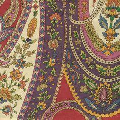Jamila Poppy by Kasmir Paisley Color, Paisley Art, Paisley Fabric, Paisley Design, Textile Pattern Design, Textile Patterns, Textiles, Abstract Coloring Pages, Mandala Coloring