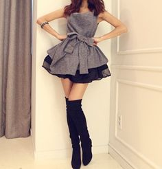 Buy Fashion Clothing - Sweet Sleeveless Slim Belted Women's Dress - Casual Dresses - Dresses