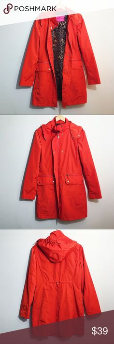 Betsey Johnson Rain Coat Glum Betsey Johnson Rain Coat. Worn once. It have small darker smudge on pocket. See last photo.  • 100% Polyester. Lining 100% Polyester. • Color Fire read. (Btw red and orange). • Machine wash cold.  • Measurements in photos.  💕Offers welcome on single items and on bundles💕 🛍 15% off bundles of 2+ Betsey Johnson Jackets & Coats
