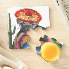 Mexican pug dog puzzle coasters  #cincodemayo #mexican #mexico #pug #coasters #beverage #barware #homedecor #puppies #dog #doglover #pugs