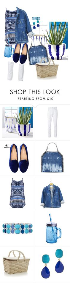 """I'M SO BLUE"" by itsmekaren ❤ liked on Polyvore featuring Hudson, STELLA McCARTNEY, Dorothy Perkins, Liz Claiborne, Fitz & Floyd, Crate and Barrel and Kenneth Jay Lane"