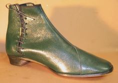 """Lady's side lacing shoes, Forest green - Side lace shoes. Our most popular style of civil war lady's shoes. In Dark green """"sweet kid"""" leather - Robert Land"""