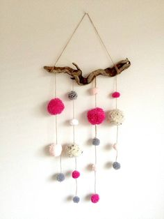 Driftwood Pom Pom Mobile Pink Grey/gray and by HelCatEmporium