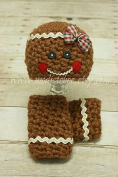Chunky Gingerbread Hat and Leg Warmer set newborn by ModisteBee, $56.00