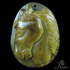 UNIQUE JEWELRY ACCESSORY PENDANT HAND CARVED HORSE TIGER'S EYE STONE H30560 #ZL #Pendant