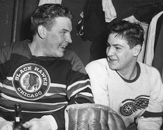 Goalies Harry Lumley of the Chicago Blackhawks & Terry Sawchuk of the Detroit Red Wings have a post-game beer in the locker room, 1951 Nhl Games, Hockey Games, Joe Malone, Goalie Gear, Bobby Orr, Women's Hockey, Maximum Effort, Sports Personality, Wayne Gretzky
