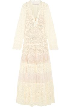 Stella McCartney's Resort '17 collection celebrates femininity. One of our favorite pieces is the 'Erika' dress, cut from two different types of floral lace in a billowy, tiered shape. This floor-sweeping style is trimmed with ruffles and lined in blush silk which tempers the sheer finish. It's the perfect choice for bohemian brides.