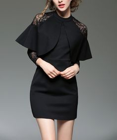 Another great find on #zulily! Black Oversize Ruffle Lace-Sleeve Sheath Dress #zulilyfinds
