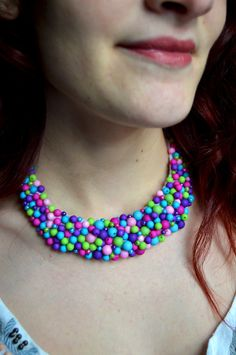 Embelished Statement Necklace, Collar Necklace made with Beads, Chocker Beaded Necklace, Multi Beads Bib Necklace, Womens Unique Necklaces by Melifluo on Etsy