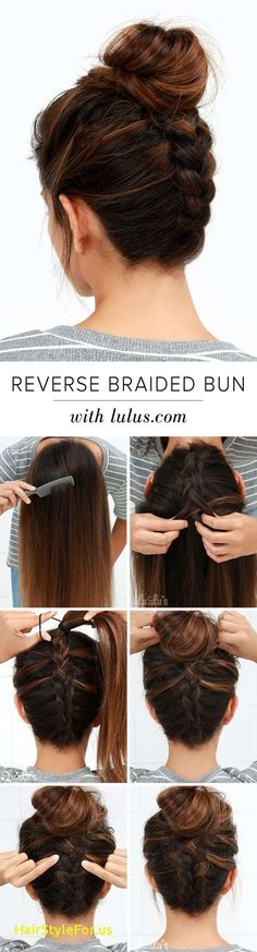 Cool and Easy DIY Hairstyles - Reversed Braided Bun - Quick and Easy Ideas for B. - - Cool and Easy DIY Hairstyles - Reversed Braided Bun - Quick and Easy Ideas for Back to School Styles for Medium, Short and Long Hair - Fun Tips and Be. Cool Easy Hairstyles, Up Hairstyles, Wedding Hairstyles, Gorgeous Hairstyles, Fashion Hairstyles, Summer Hairstyles, Hairstyles Pictures, Simple Hairdos, African Hairstyles