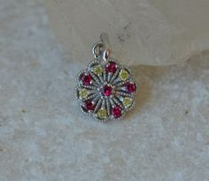 White Gold Cluster Pendant with Red Spinel and by yvonneraley, $249.00