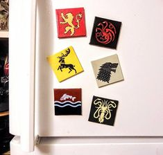 Miniature Acrylic Painting on Tiny Magnetic Canvasses, tribute to the TV show Game of Thrones