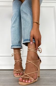 Iris Heels Blush Suede - Source by - Tan Sandals Heels, Tie Up Heels, Stiletto Heels, Heels Outfits, White Heels Outfit, White Strappy Heels, Blush Heels, Prom Heels, Platform High Heels
