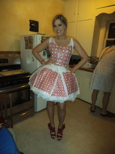 dress  i made entirely out of plastic bags for my abc bday party