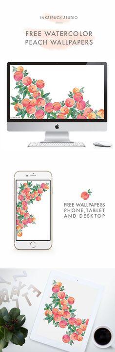 Download free watercolor peach wallpapers for desktop,iPhone and iPad - Zakkiya Hamza   Inkstruck Studio