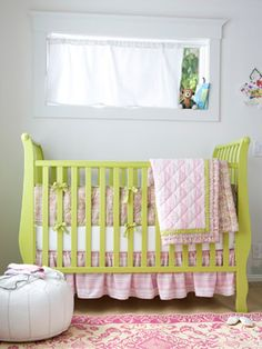 pink and lime. i love how the crib bulges out..it seems like it could be a character in Beauty and the Beast :)