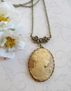 Long cameo necklace lady vintage style pendant by botanicalbird