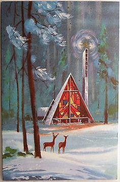 Mid-Century Modern Christmas Church I could almost become religious. Ghost Of Christmas Past, Old Fashioned Christmas, Christmas Scenes, Christmas Deer, Modern Christmas, Retro Christmas, Vintage Christmas Images, Vintage Holiday, Christmas Pictures