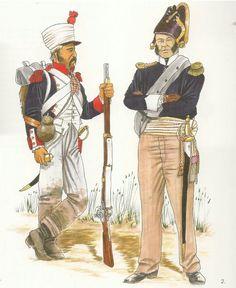 Granatiere della linea francese e ufficiale di fanteria francese