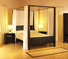 Curtains for canopy bed - If you are lucky enough to have a four-poster bed, you already know that change bed curtains changes look of entire room. Contemporary Canopy Beds, Modern Canopy Bed, Canopy Bedroom Sets, Queen Canopy Bed, Canopy Bed Frame, Master Bedroom, Diy Canopy, Bedroom Simple, Modern Bedrooms