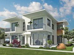 Exterior de casa blanca, detalles y rejas grises