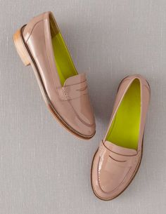 Boden Women's Brand New Penny Loafers Shoes Champagne Pink Patent Leather | eBay