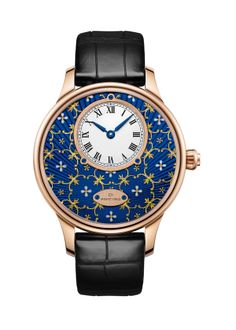 "JAQUET-DROZ:""Petite Heure Minute Paillonnée""- Blue Grand Feu paillonné-enameled dial, red gold case. Automatic movement. Power reserve of 68 hours. 39 mm diameter"