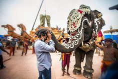 SS Rajamouli with a beautiful elephant on sets of Baahubali