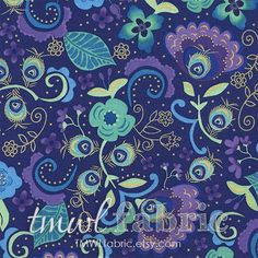 PEACOCK VALLEY purple turquoise, green and gold metallic floral fabric by the… Purple Peacock, Peacock Feathers, Floral Fabric, Woven Fabric, Dark Purple Background, Shades Of Purple, Green And Gold, Mint Green, Printing On Fabric
