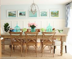 Lake House Summer Tour with beachy coastal colourful entry hall dining room and deck at the happy housie-6