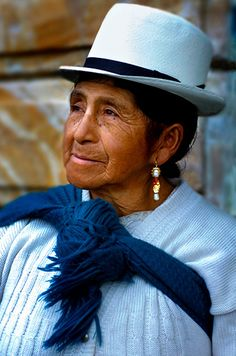 South America | Portrait of a women wearing a Panama hat and shawl, Cuenca, Ecuador | Anthony John Coletti