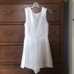 Topshop White Lace-Back Romper White romper with a lace v-back. Great condition! Topshop Other