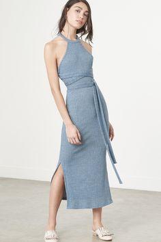 Dusty Blue Rib Knit Cut Out Back Wrap Tie Detail Midi Dress