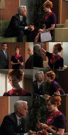 """Season 1 Episode 8 - """"The Hobo Code"""" Another busy day for Joan. First, she drops off breakfast for the switchboard operators (because she had a favor to Joan Mad Men, Hobo Code, John Slattery, Joan Holloway, Movie Pic, Men Tv, Fifties Fashion, Vintage Fashion, Vintage Girls Dresses"""