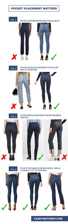 When buying denim, pocket placement matters. Here are tips on how to find the most flattering pair!