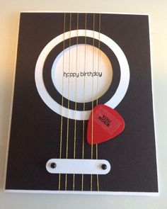PIN IT FRIDAY FAVS: Masculine Birthdays this would be an awesome card for Clint….Guitar birthday card using real guitar pick, Stampin' Up! Word Window punch, Wishes Your Way happy birthday (Diy Birthday Cards) Bday Cards, Birthday Cards For Men, Card Birthday, Birthday Greetings, Birthday Ideas, Birthday Images, Birthday Presents, Happy Birthday Guitar, Birthday Design