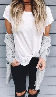 summer outfits White Tee + Black Destroyed Skinny Jeans
