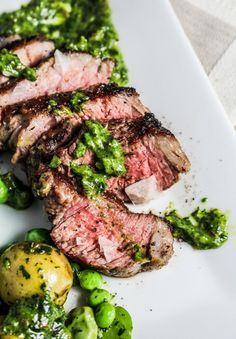 Grilled Lamb with Fava Beans and Mint-Mango Sauce {Katie at the Kitchen Door}