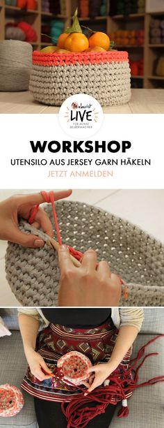 Utensilo Häkel-Workshop zur Makerist LIVE in Berlin im Mai 2017 - Jetzt buchen via Makerist.de Workshop, Mai, Straw Bag, Berlin, Live, Crochet, Paper Crafts, Paper Envelopes, Sew Mama Sew