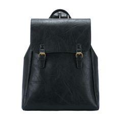 SheIn(sheinside) Black Buckle PU Backpack (560 CZK) ❤ liked on Polyvore featuring bags, backpacks, shein, backpack, black, black backpack, vintage knapsack, polyurethane bags, rucksack bag e pu backpack