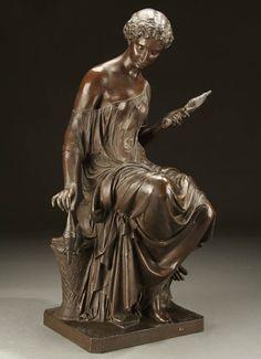 MATHURIN MOREAU (French 1822-1912) Fileuse Bronze