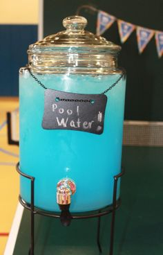 Pool Water Punch:  1 part Berry Blue Typhoon Hawaiian Punch; 1 part prepared lemonade. Stir together and serve over ice. (photo only)